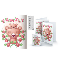 Family bear - poster and merchandising vector