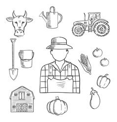 Farmer or farm worker profession sketch vector