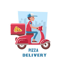 Fast and free delivery of pizza on the scooter vector