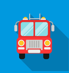 Fire truck icon flat single silhouette fire vector