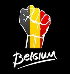 Fist of Belgium flag painted multi purpose concept vector