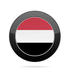 flag of yemen shiny black round button vector image
