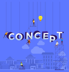 Flat design concept small people working vector