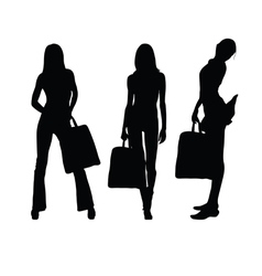 girl with suitcase silhouette vector image