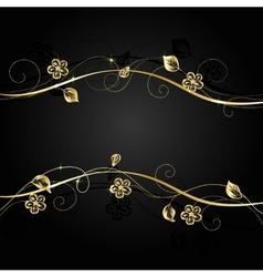 Gold flowers with shadow on dark background vector