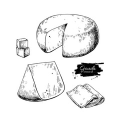 Gouda cheese block drawing hand drawn food vector