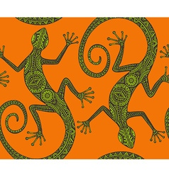 Hand drawn seamless pattern with monochrome lizard vector