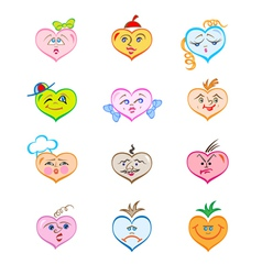 hearts with various faces vector image