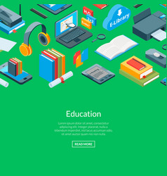 isometric online education icons background vector image