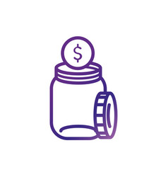 jar with money coin charity help donation vector image