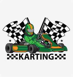karting racing design logo vector image