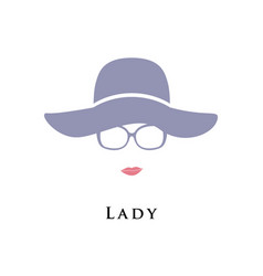 lady in hat and glasses beautiful portrait vector image