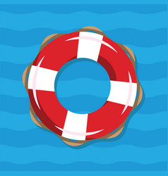 life buoy on blue sea background red vector image