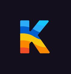 logo letter k colorful blue red orange vector image