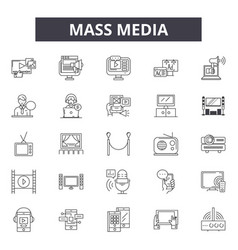 mass media line icons signs set outline vector image