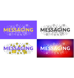Messaging flat line concept for web banner vector
