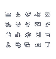 Money line icons business payment market vector