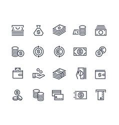 Money line icons business payment money market vector