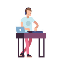 musician dj female character in headphones play vector image