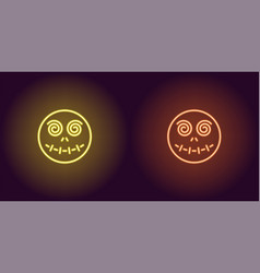 neon zombie head in yellow and orange color vector image