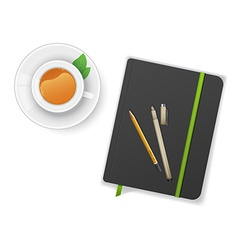 Notebook with pen and cup of tea vector