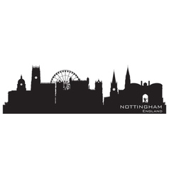 Nottingham England skyline Detailed silhouette vector image