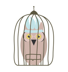 Owl bird with feathers hat in cage bohemian style vector