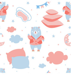 pajama party seamless pattern good night nursery vector image