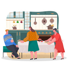 People preparing for home reception in kitchen vector