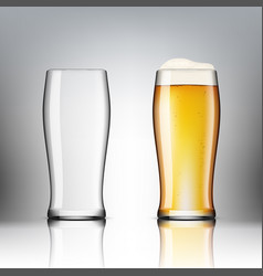 realistic transparent beer glasses empty and full vector image