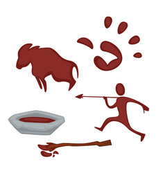 Rock art paint in bowl hunter palm and ox images vector