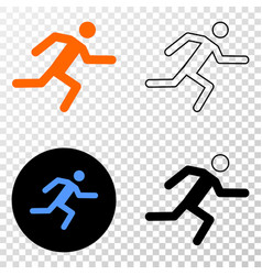 running man eps icon with contour version vector image