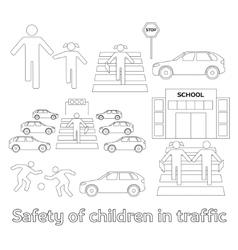 Safety of children in traffic vector