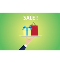 sale concept with people hand holding a plate with vector image
