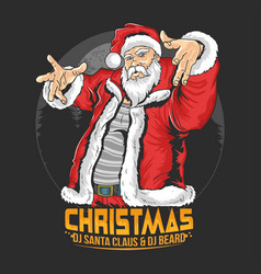 Santa claus raper hip hop christmas party artwork vector