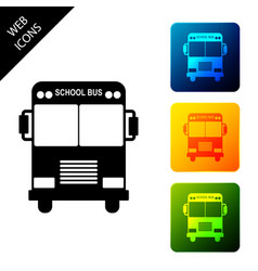 school bus icon isolated on white background set vector image