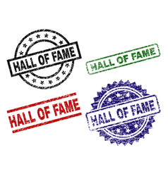 Scratched textured hall of fame stamp seals vector
