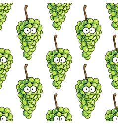 Seamless pattern of bunches of green grapes vector