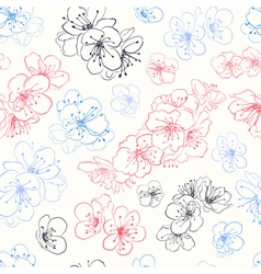Seamless pattern of cherry blossoms vector