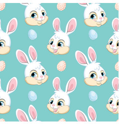 seamless pattern with heads white rabbits vector image