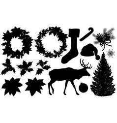 set christmas and new year silhouette vector image