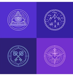 set linear abstract symbols and signs vector image