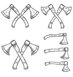 Set lumberjack axes in engraving style vector