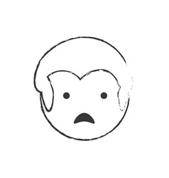 Sketch man male sad face vector