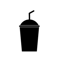 soda sign filled black icon at white vector image