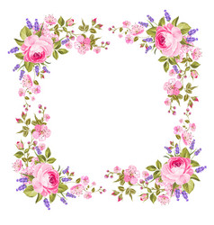 Spring flowers border vector
