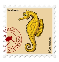 stamp with animal vector image