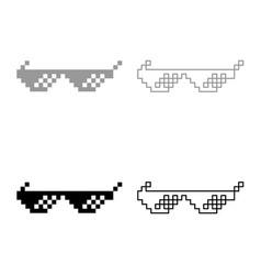 Sun glasses pixel icon set grey black color vector