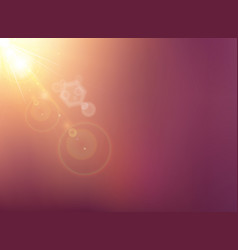 sun shining with flare on blurred dark purple vector image