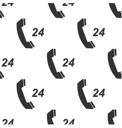 telephone 24 hours support icon seamless pattern vector image